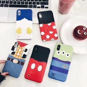 Cartoon disney Minnie mickey Pocket card case cover for iphone 11 Pro XS Max 7 8