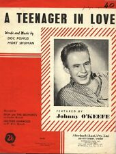 "JOHNNY O'KEEFE  Rare 1959 Australian Only OOP Sheet Music ""A Teenager In Love"""