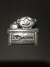 "Vintage Mexico 925 Sterling Silver ""I Love Teaching"" Brooch Pin"