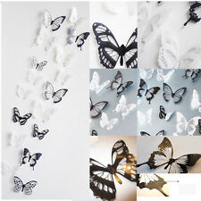 18pcs 3D Black White Butterfly Crystal Wall Stickes Decals Home Xmas DIY Decor