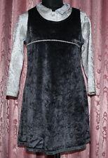 SET = Bluse + Kleid Empire ☺ Gr. 110 *TOP* silbrig/graues schimmerndes Pannesamt