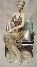 Juliana Broadway Belles Gold Glitter Figurine SAT on Chaise Lounge Valerie