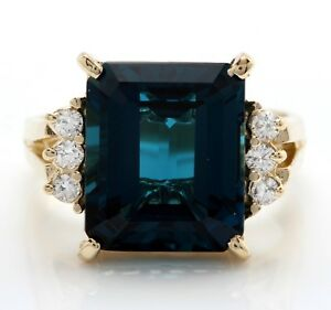 6.05 Carat Natural London Blue Topaz and Diamonds in 14K Solid Yellow Gold Ring