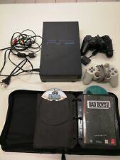 Playstation 2 PS2 FAT schwarz mit 2 Controllern alle Kabel und 15 Spielen