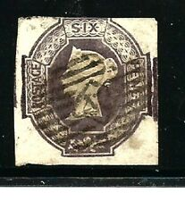 Great Britain Stamps- Scott # 7b/A4-6p-Canc/LH-1854-Embossed-IMP-NG-Dk.Violet