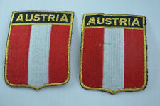 2x AUSTRIA OSTERREICH FLAG Embroidered Sew Iron On Cloth Patch Badge APPLIQUE