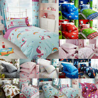 Children Duvet Cover Set, Fitted Bed Sheet & Curtains Single Kids Rotary Bedding