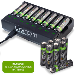 Rechargeable Battery Charging Dock plus 16 x High Capacity 2100mAh AA Batteries