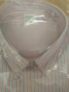 Brookes Brothers Milano Cotton Red Blue White Stripe Shirt Size L