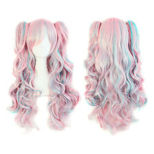 70cm Long and Synthetic Pink / Blue Curly Clip-In Ponytails Lolita Cosplay Wig