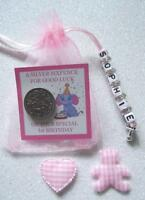 PERSONALISED LUCKY FIRST SIXPENCE 1st BIRTHDAY GIRL GOOD LUCK CHARM TEDDYBEAR  .