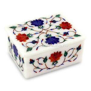 Marble White Jewelry Box Marquetry Inlay Stone Best Christmas Gift Decor H4615
