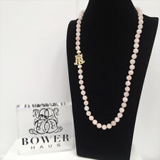 BOWERHAUS Pink Agate Necklace - Charm and Pearl with 24K GOLD PLATED Clasp
