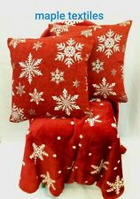 2X CHRISTMAS SNOWFLAKE RED CHENILLE CUSHION COVERS 1 X VELVET THROW £19.99 SET