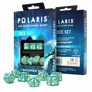 Polaris The Roleplaying Game Waterproof Dice Set (7 Piece Set) - Turquoise with