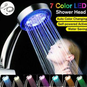 LED Duschkopf Handbrause Kopfbrause Automatic 7 Farbe Licht mit 2m Schlauch DE