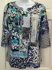 Christopher & Banks Multi-Color Knit Top SZ XL Floral Print Stretch Cotton Blend