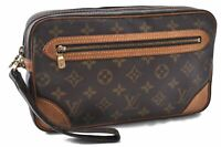 Authentic Louis Vuitton Monogram Marly Dragonne Clutch Hand Bag M51825 LV C1732