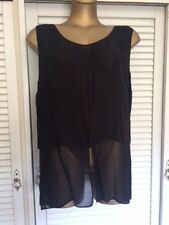 Designer Nitya Navy Blue Sleeveless Top Double Fabric, Sheer Lower Section Sz 18