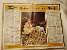 """CALENDRIER ANCIEN ALMANACH DES PTT 1959 """"Doux comme un agneau"""""""