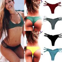 HOT Brazilian Women Ladie V Thong Cheeky Ruched Bikini Bottom Swimwear Beachwear