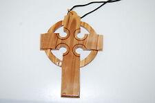 "Large 4"" Celtic Cross Olivewood Necklace Made In Bethlehem Christian Religious"