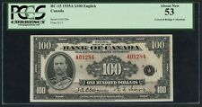 "BC-15 $100 1935A ""ENGLISH"" BANK OF CANADA PCGS ABOUT NEW 53 CV $11,000 WLM4413"