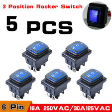 5X 3 Position 6 Pin Rocker Switch LED Lighted SPDT On/Off/On Latching 16A 250V