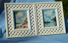 Two Framed Seagulls Beach Surf  Prints Vebrant Colored Prints 6 by 4 1/2 inches