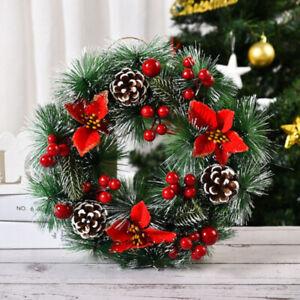 Christmas Wreath Door Wall Hanging Ornament Garland Xmas Party Berries Pinecones