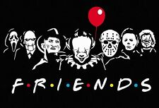 Friends Parody Art Poster Horror Movie Collage Pennywise Jason Freddy Chucky NEW