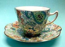 Rosina Queens 5031 Blue Paisley Tea Cup and Saucer Chintz Bone China