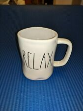 """Rae Dunn """"RELAX"""" Coffee Cup Mug. Large Font. Artisan College By Magenta. New"""
