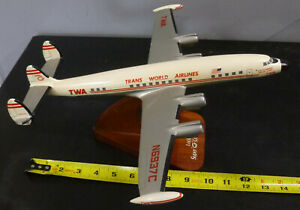"TWA Super G Constellation Airplane Lockheed 15"" Airliner DeskTop Model nice"