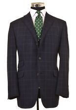 Dunhill Navy Blue Windowpane Check CASHMERE Wool Sport Coat Jacket 54 44 R