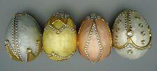 Pier 1 Pastel Peach Yellow Gray & Off White Jeweled Capiz Eggs Set of 4 NEW