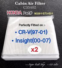 x2 Honda CRV Insight Quality AC CABIN AIR FILTER C35402 CRV97-01 & Insight 00-07