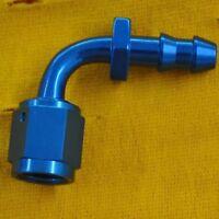 -08 90 degree AN/JIC hose end push lock - Blue