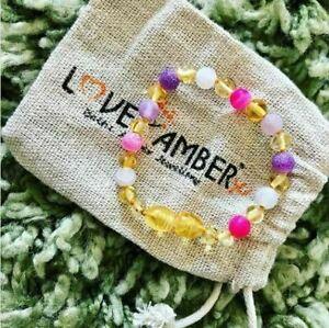 Girls Baltic Love Amber x Anklet Bracelet Pink Purple Agate Gemstones Amelie