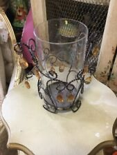 French Country Filigree Metal & Glass Candle Holder Orange Teardrops