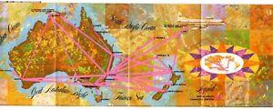 Vintage Qantas Trans Tasman Souvenir Route Map - Print Date March 1963