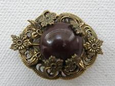 Vintage Antique Art Nouveau Brass Gilt Oxblood Cabochon Brooch Pin