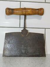 More details for antique steel herb chopper / dough cutter c1890's wooden handle arrowhead joint