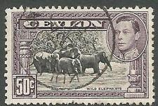 Ceylon Scott# 286, King George VI & Wild Elephants, 50c, Used, 1946