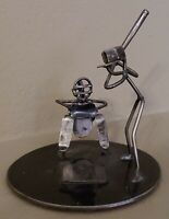 Awesome Baseball Nuts and Nails Sculpture Metal Batter Catcher Home Plate Signed
