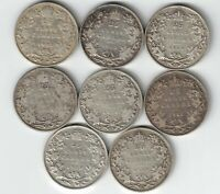 8 X CANADA TWENTY FIVE CENTS QUARTERS KING GEORGE V SILVER COINS 1912 - 1919