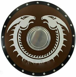 Mittelalterlich Rund Viking Drache Holz Schild Handgefertigt Dekorativ Shield