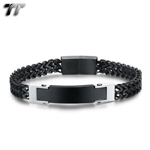 Quality TT Black Stainless Steel Double wheat Chain ID Bracelet (BBR249)2021 NEW