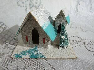 Vintage Small Putz Cardboard Blue House Glitter Tree