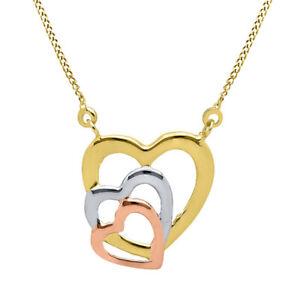 14K Multi Tone Gold Tricolor Triple Heart Pendant Necklace